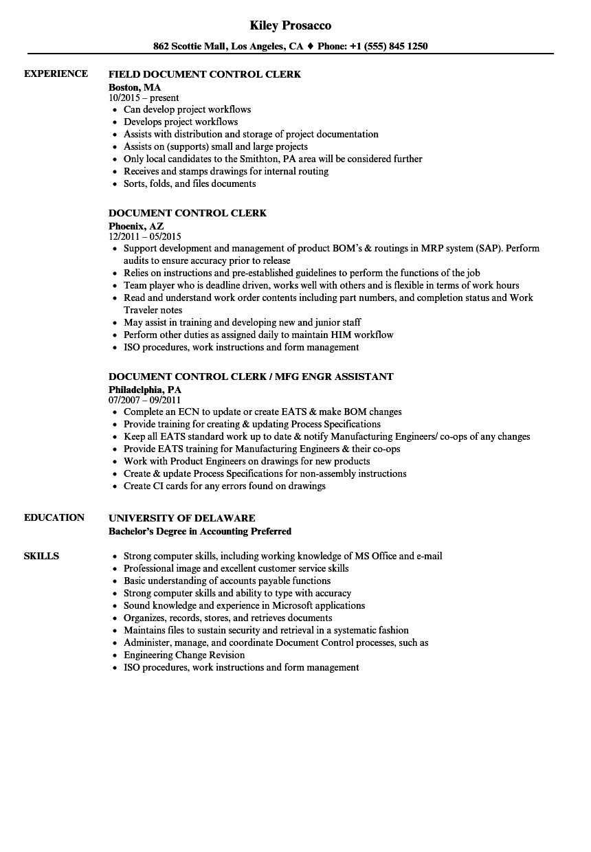 quality control clerk resume