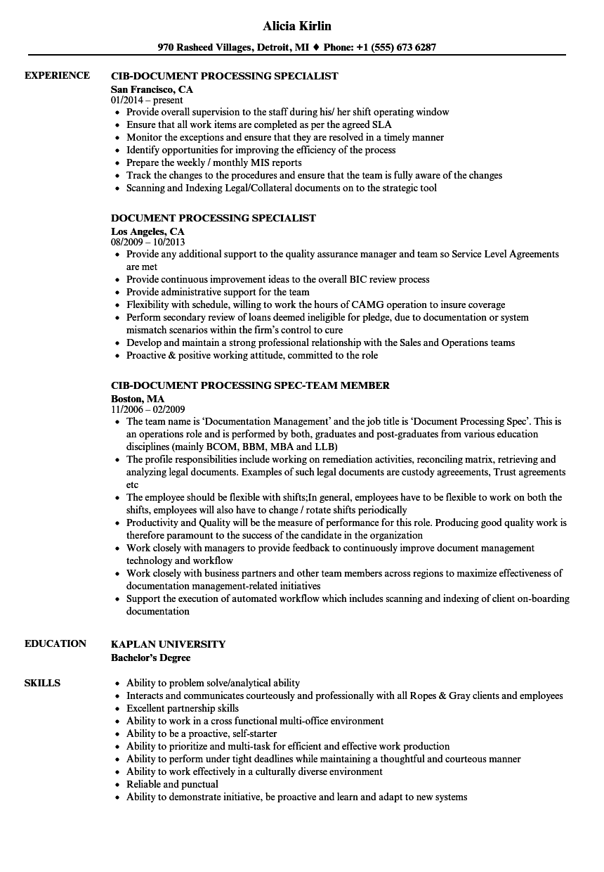 resume samples word document