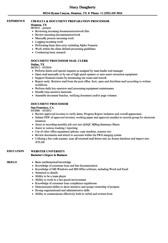 processor resume sample