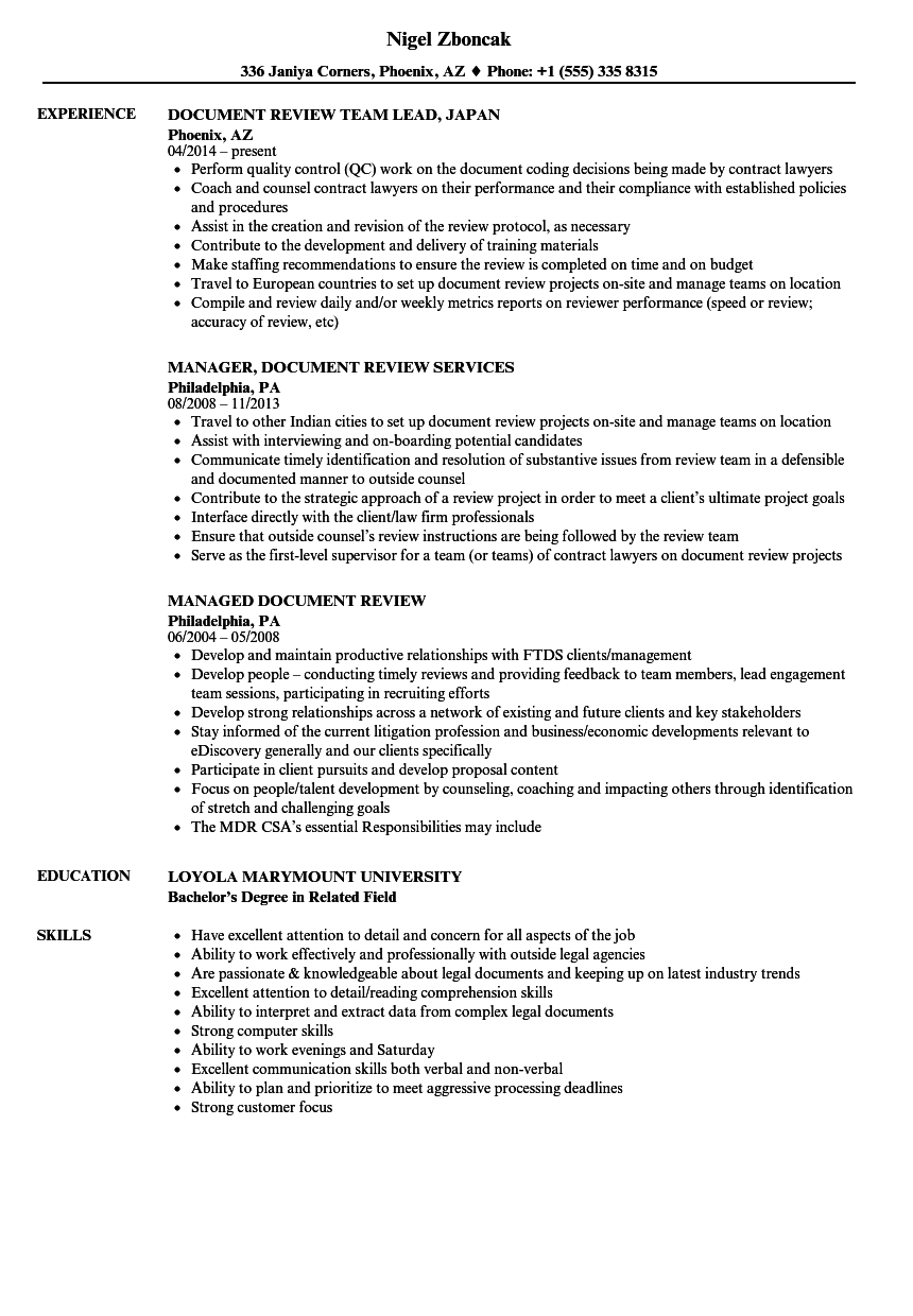 resume review specialist