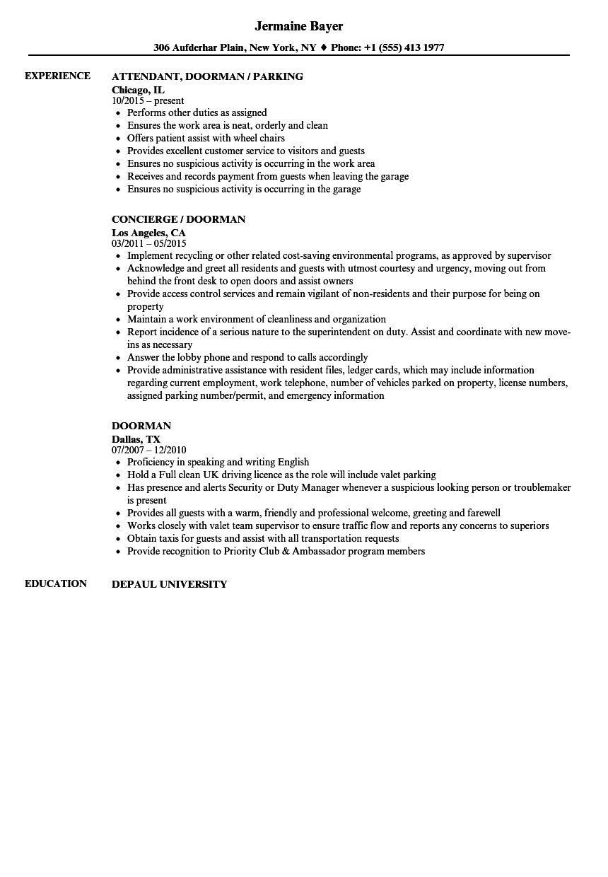 resume summary examples for valet