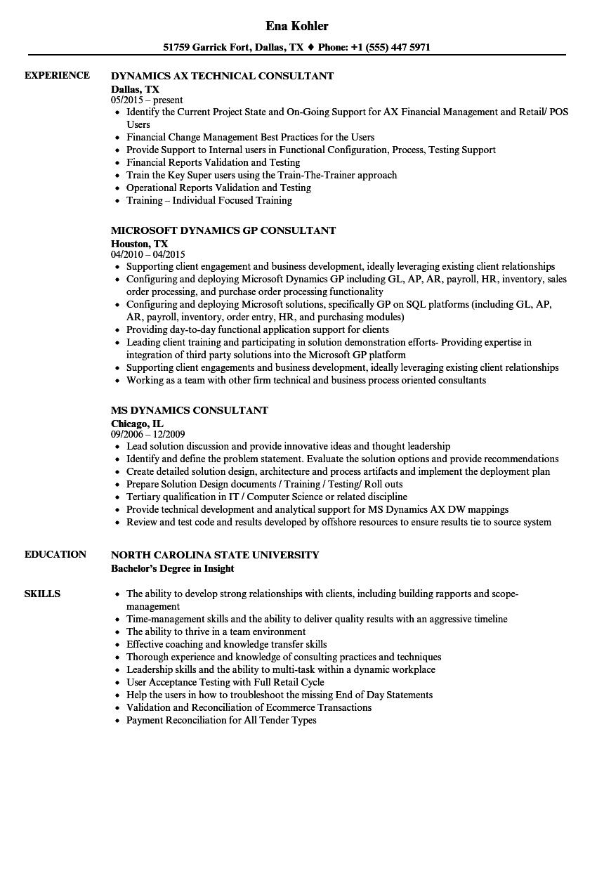 microsoft dynamics sample resume