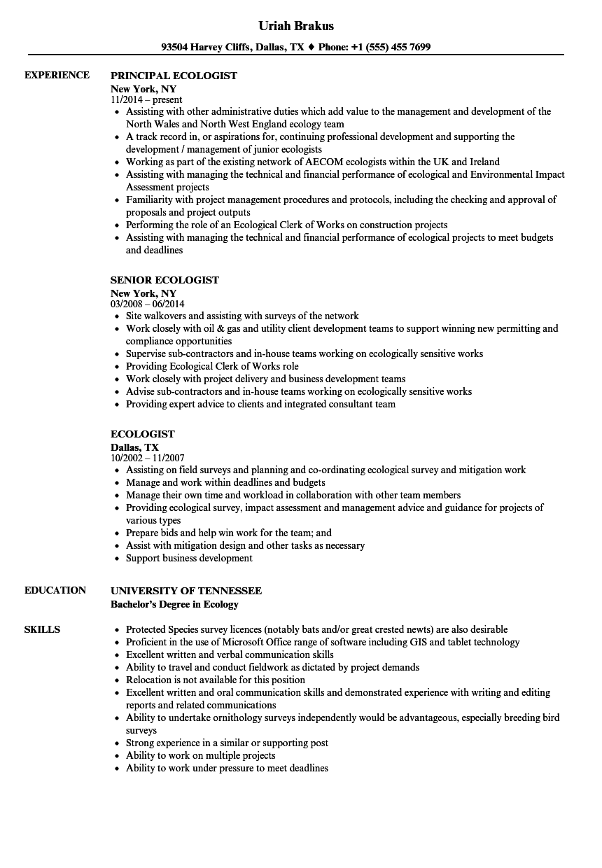 ecology resume examples