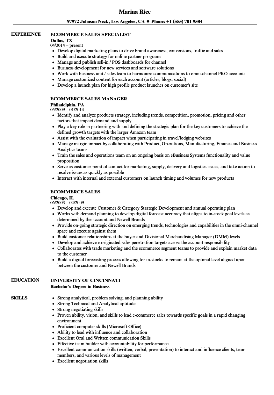 ecommerce coordinator resume sample