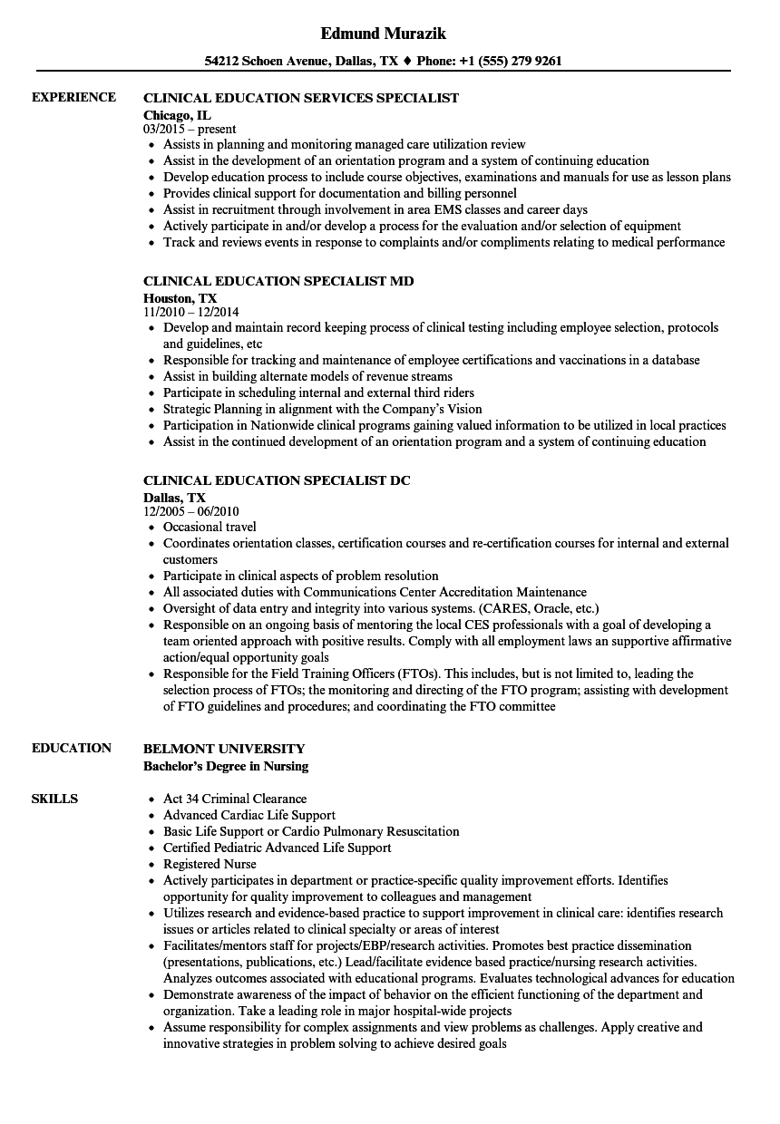 elearning specialists resume sample