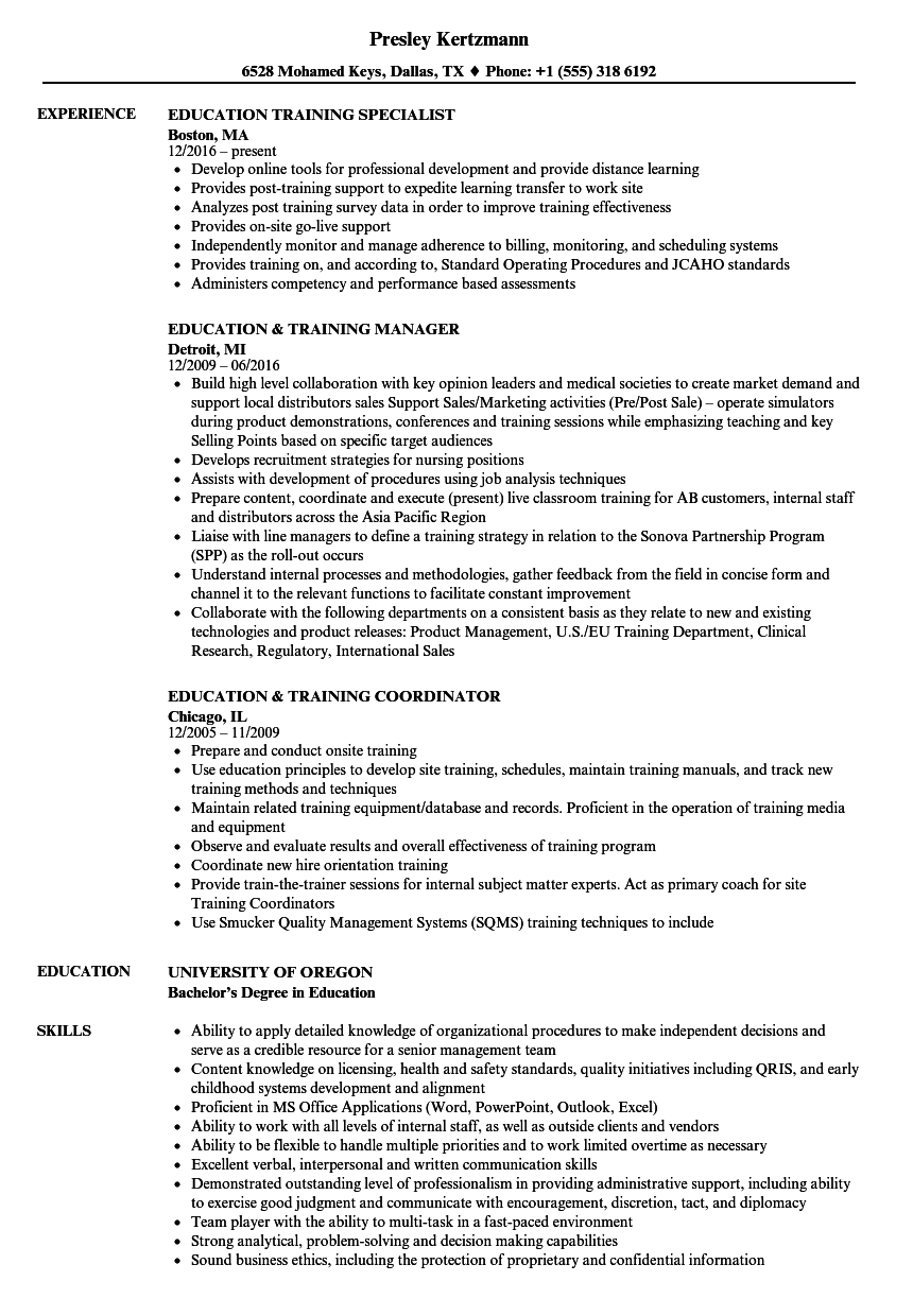 resume examples education and training