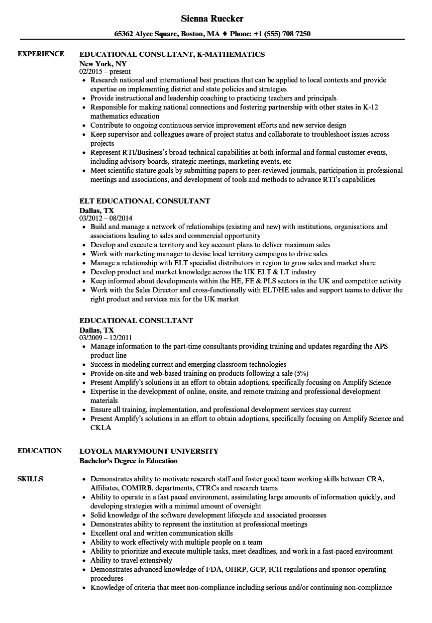 sample resume education manager