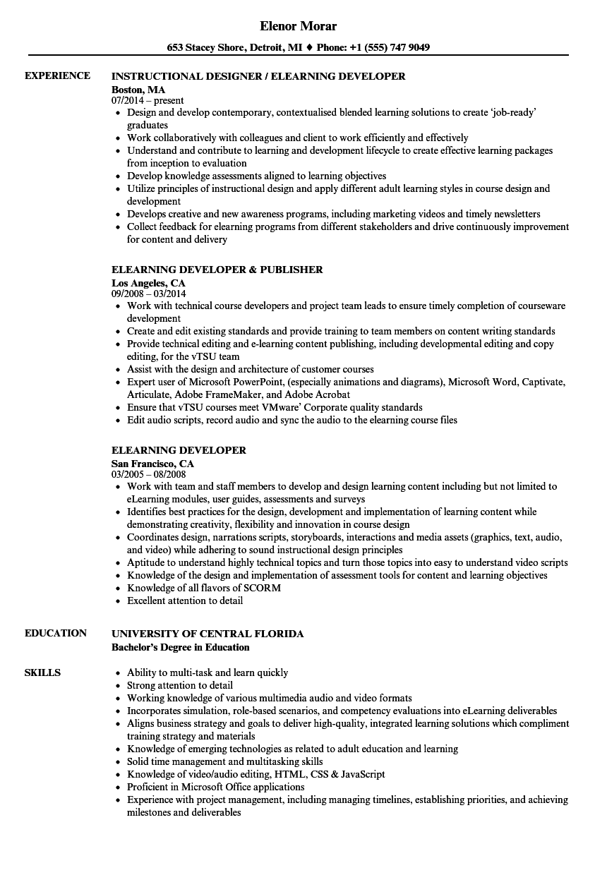 sample resume elearning developer