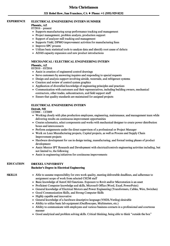 electrical engineering undergrad student sample resume