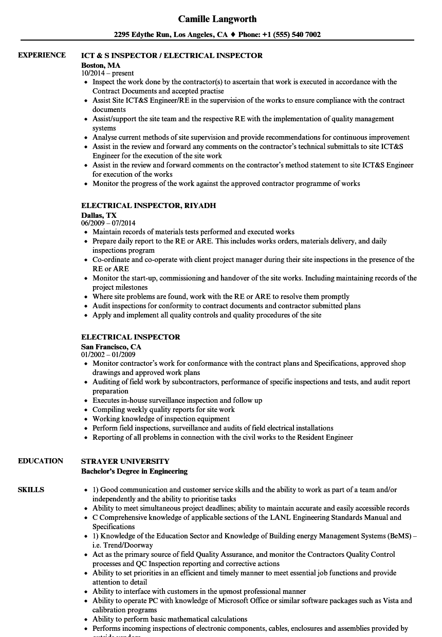construction inspector resume examples
