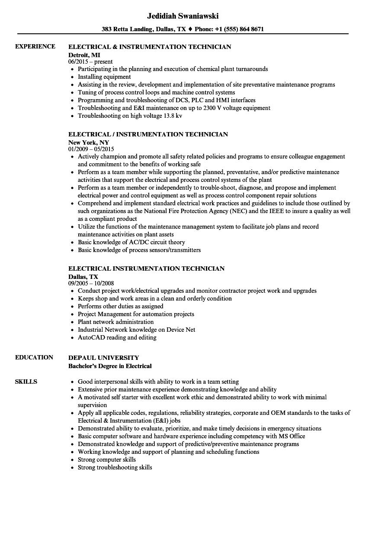 controls technician resume example
