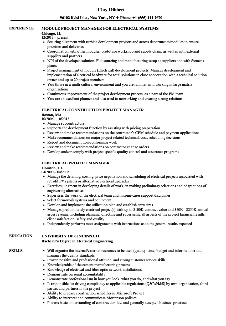 project manager electrical resume examples