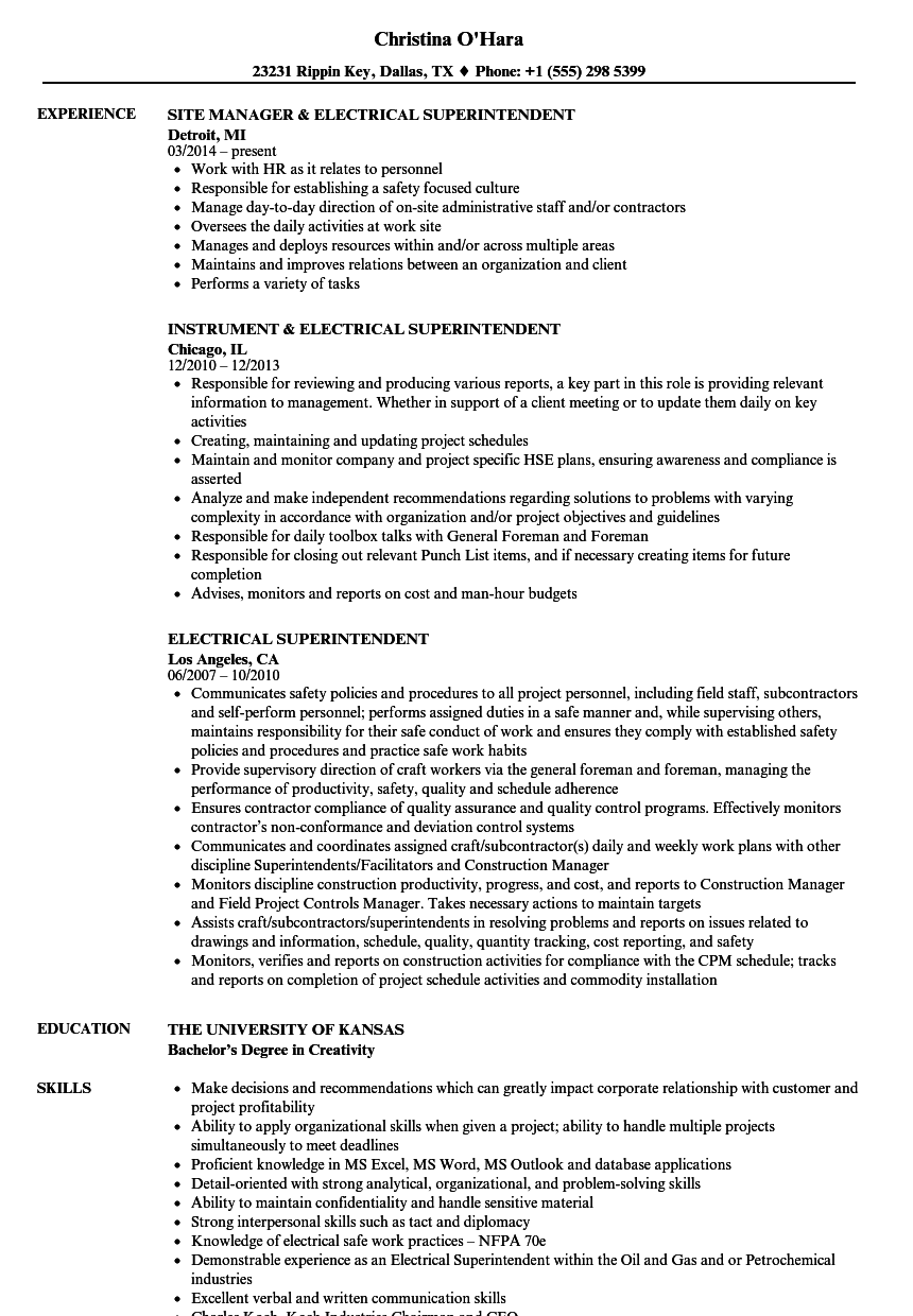 superintendent resume examples