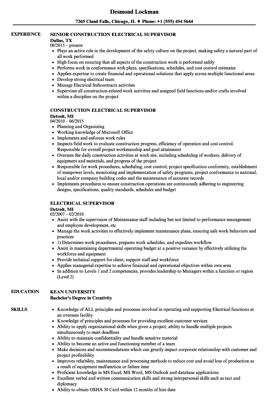 electrical maintenance supervisor resume sample