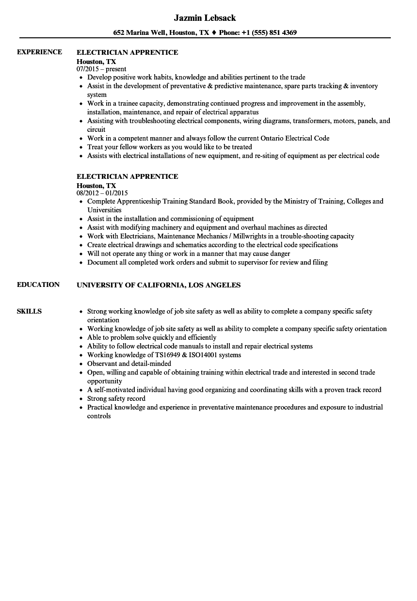 resume objective sample for electrician