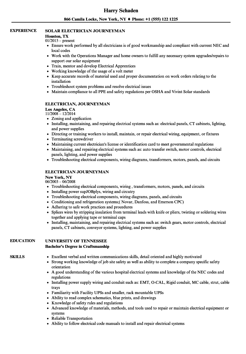 free electrician resume samples