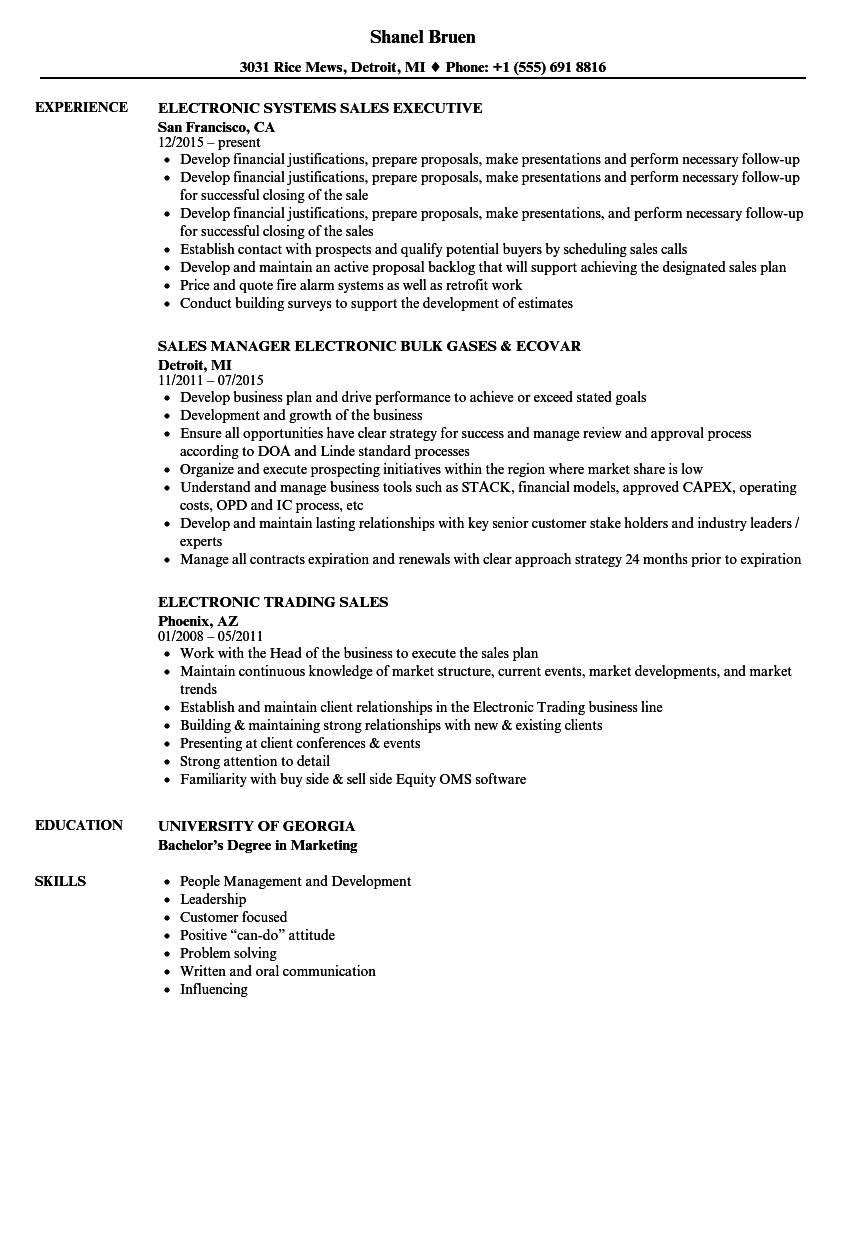 sales resume sample download