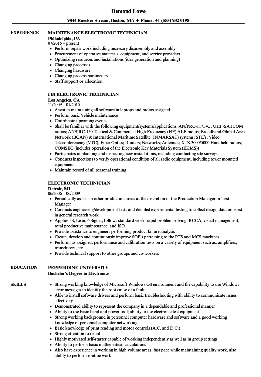 resume examples for electronic technician