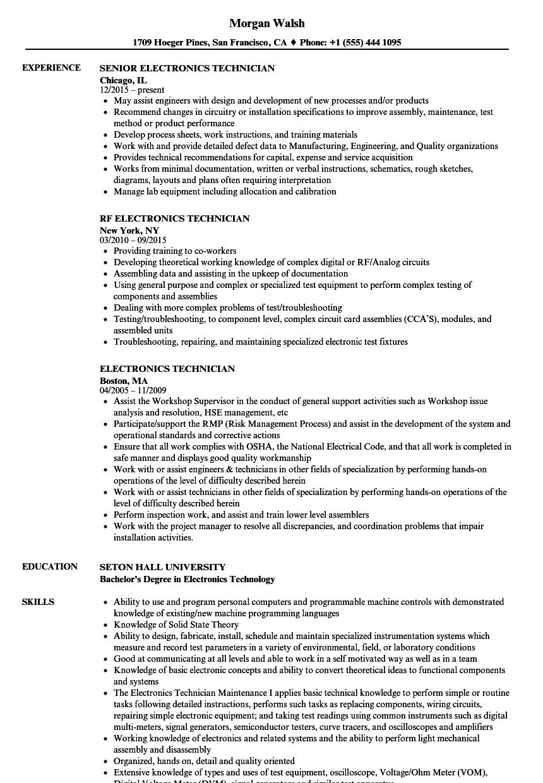 electronics technician resume sample