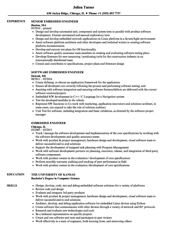 embedded engineer resume sample
