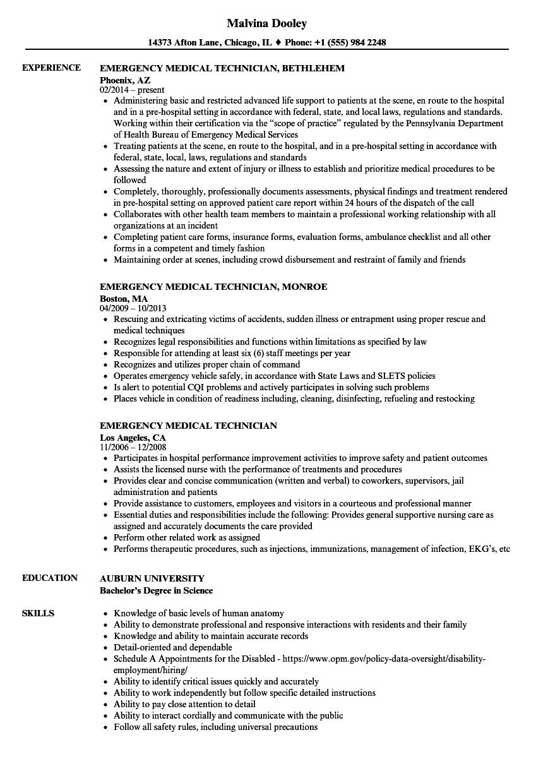 sample resume medical technician