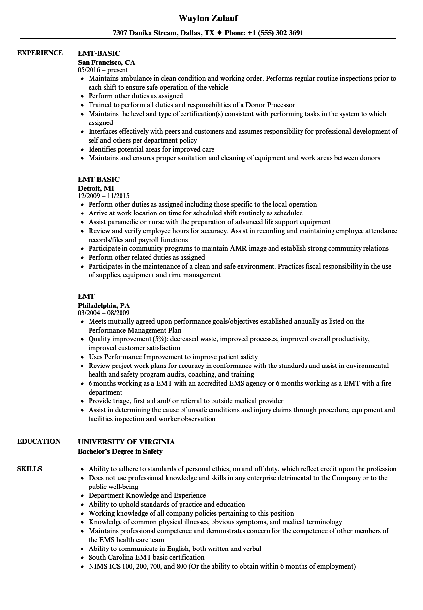 sample emt resume