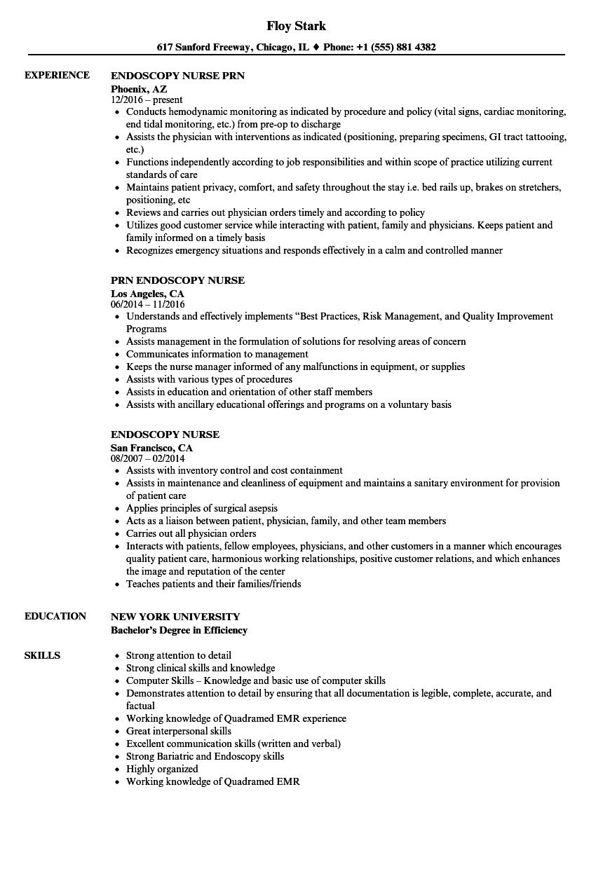 sample resume for endoscopy nurse