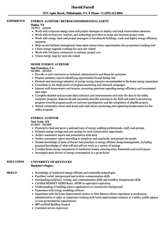 energy efficiency resume samples