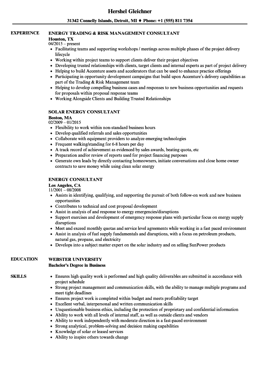 sample resume for energy consultant