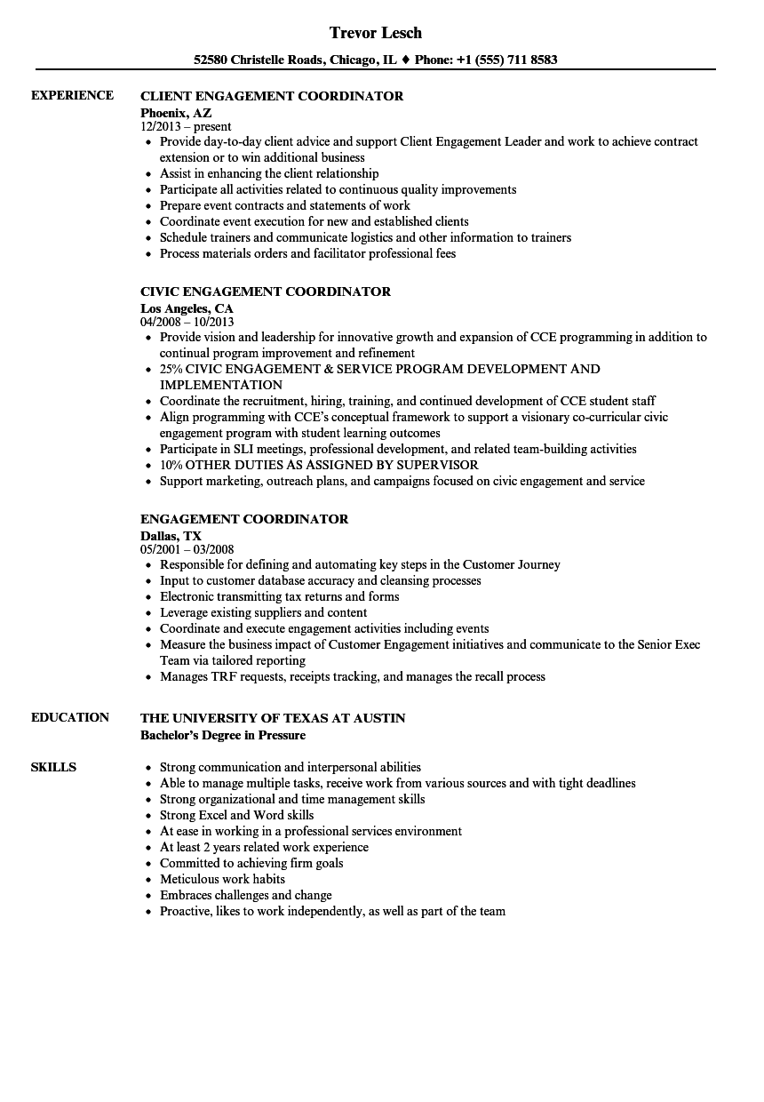 sample resume for community engagement coordinator