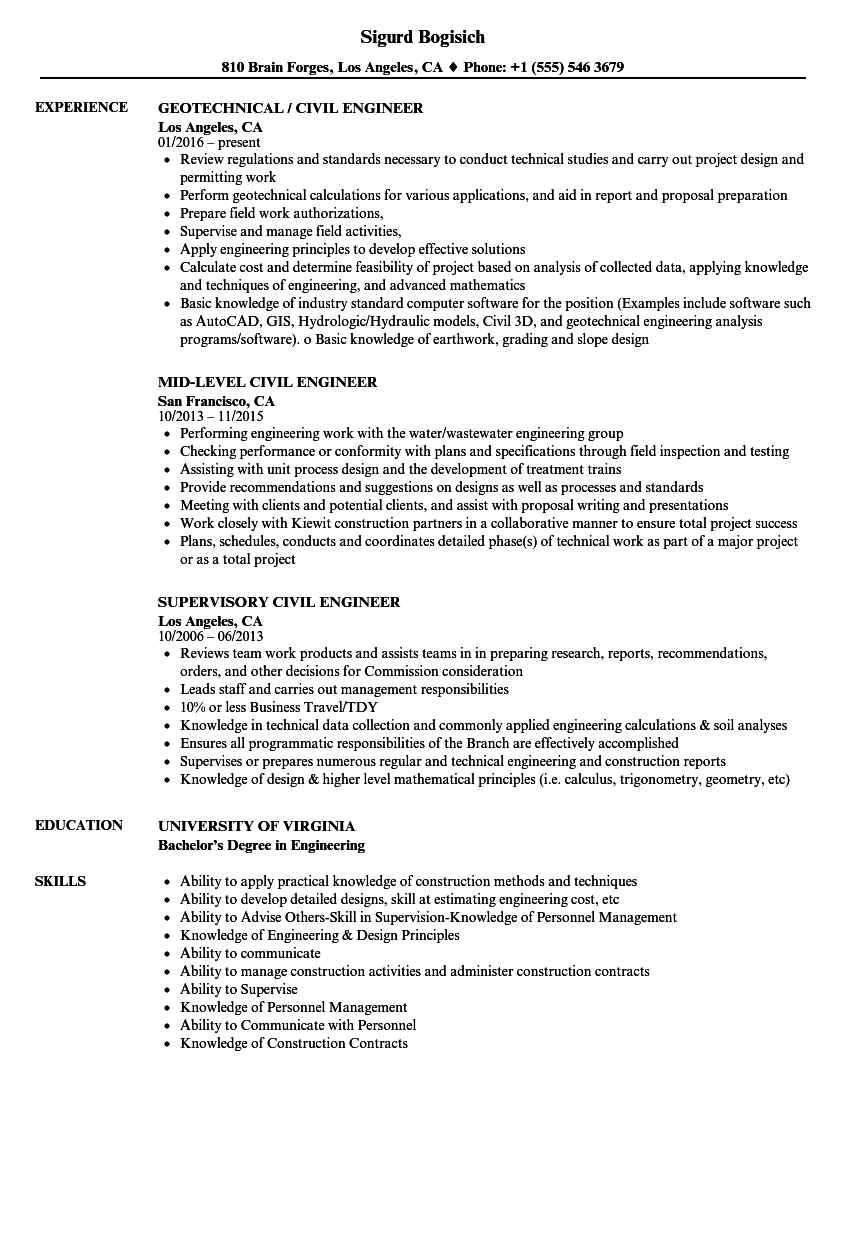 technical skills resume civil engineer