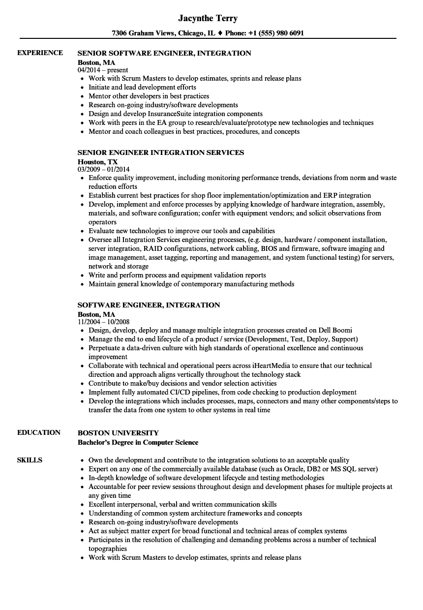 resume examples for integration engineer