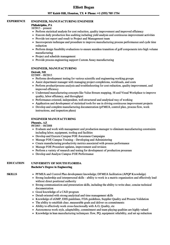 validation engineer sample resume industrial engineering