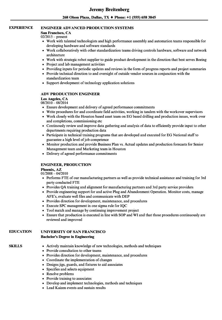 production experience resume sample