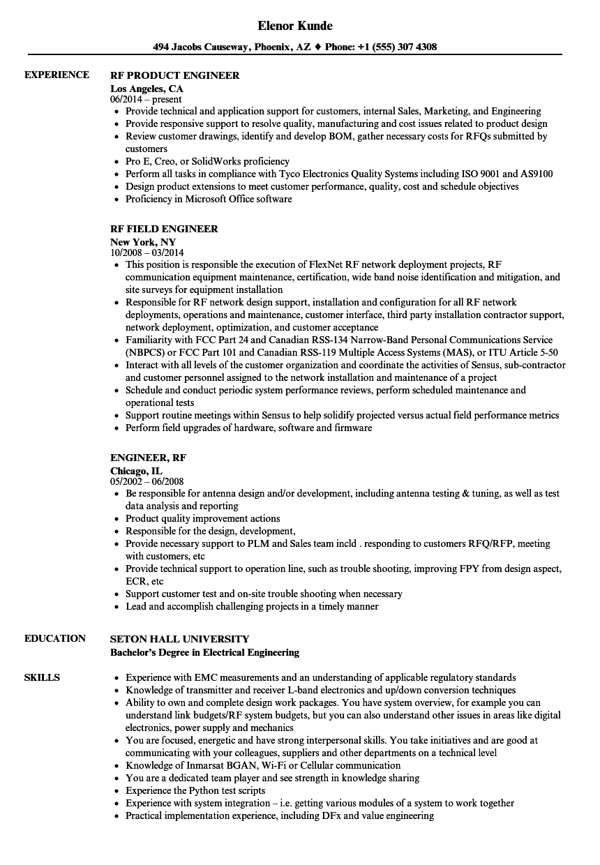 wireless communication resume sample