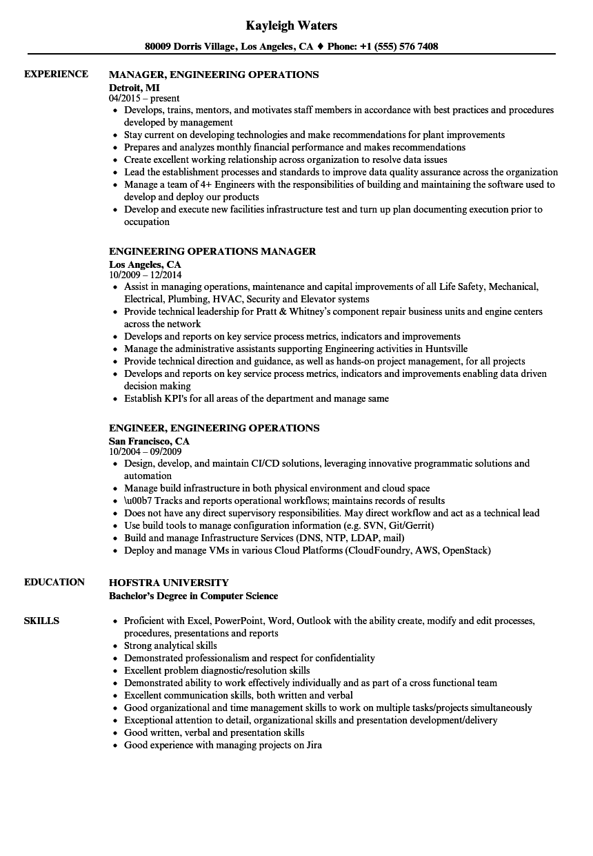 process engineering manager resume sample
