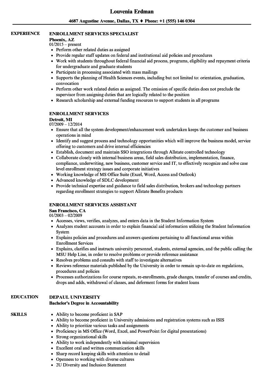provider enrollment sample resume