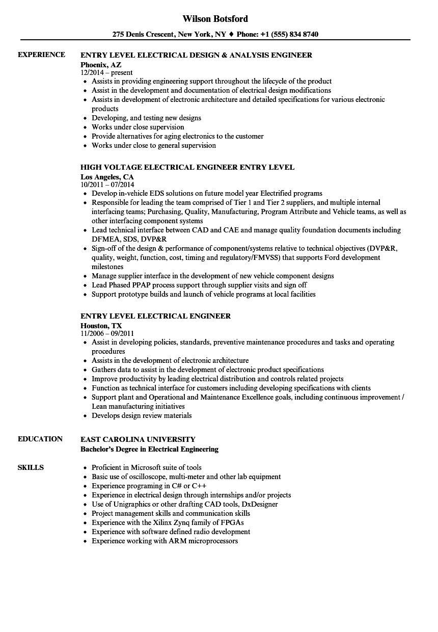 sample resume for entry level product engineer