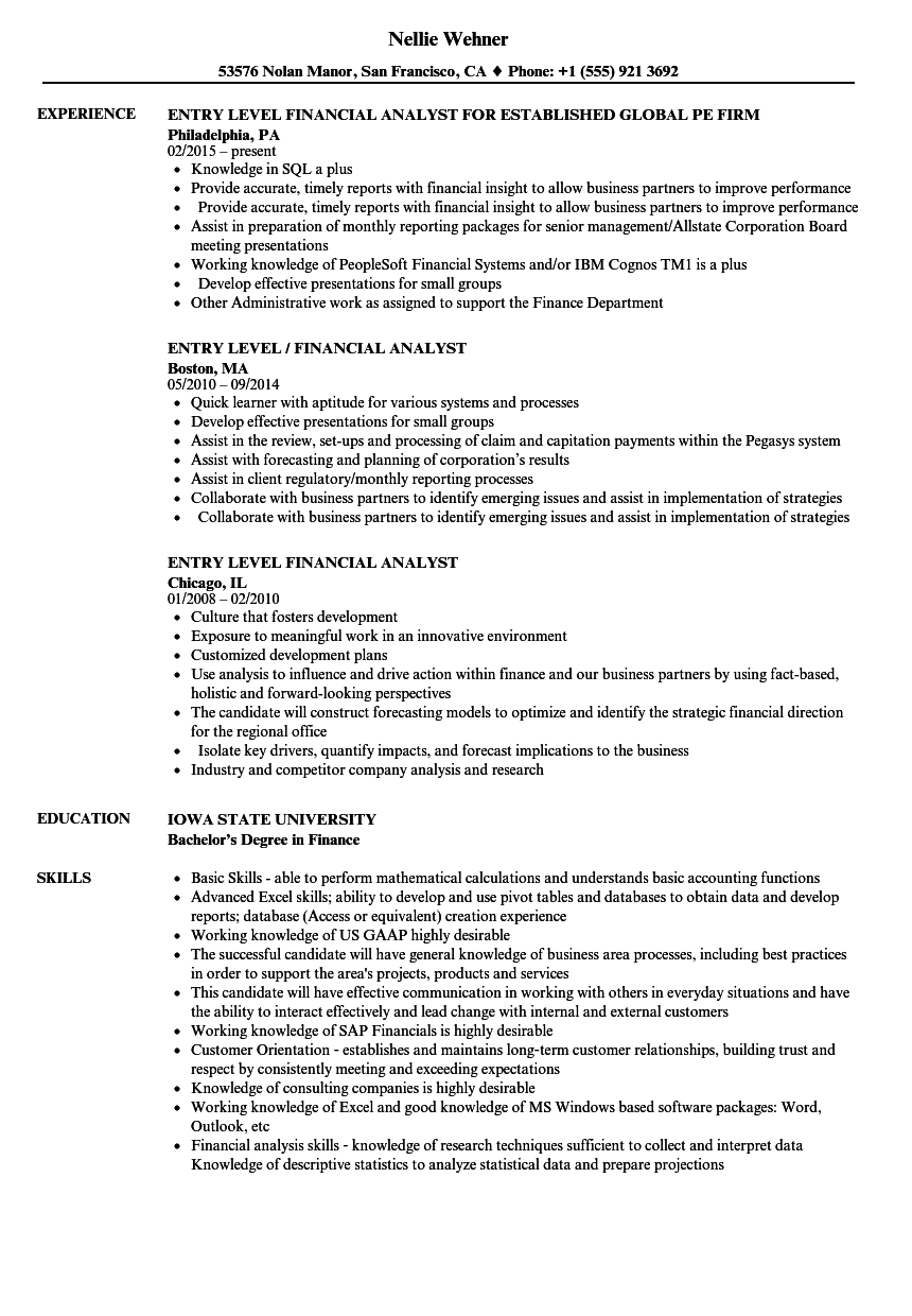 financial analyst resume examples entry level