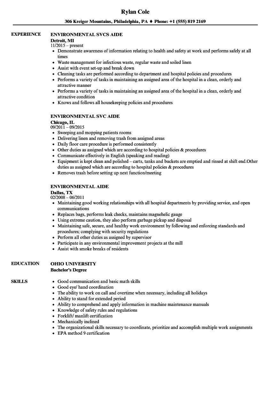 director environmental services resume sample