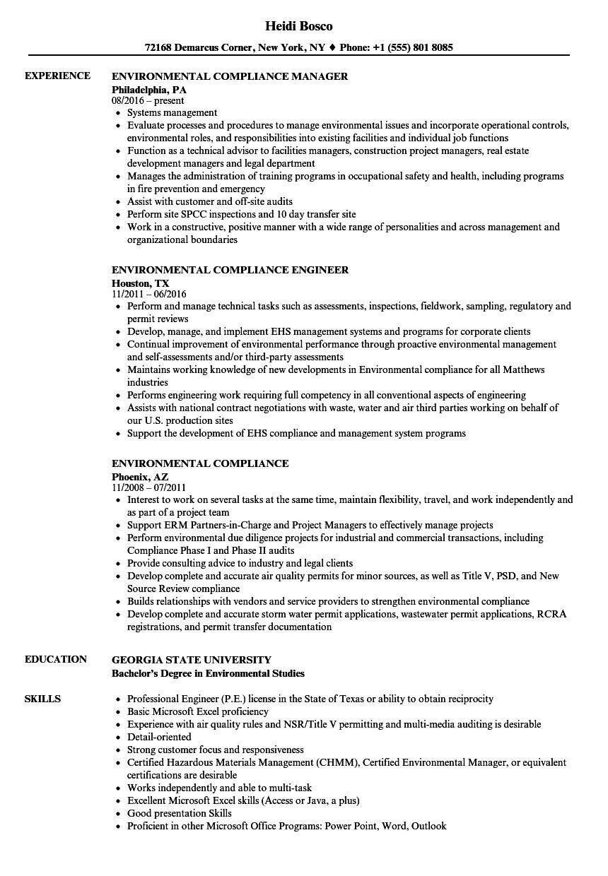 environmental jobs resume sample