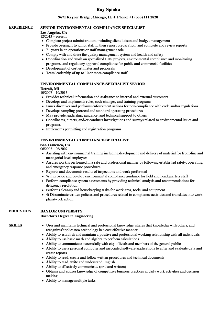 sample resume for compliance specialist