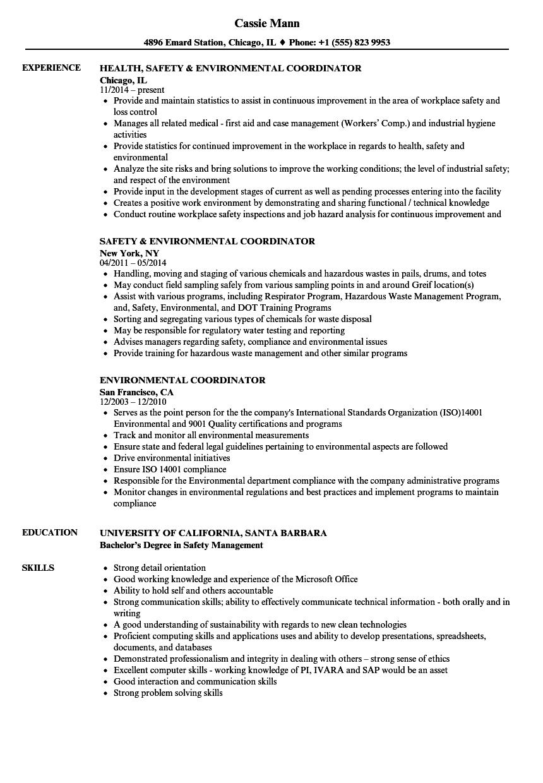 environmental planning resume examples