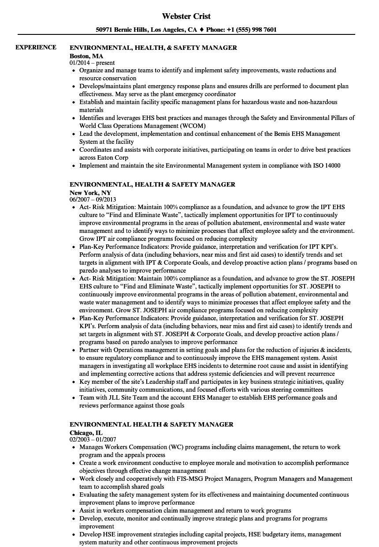 sample resume for environmental manager