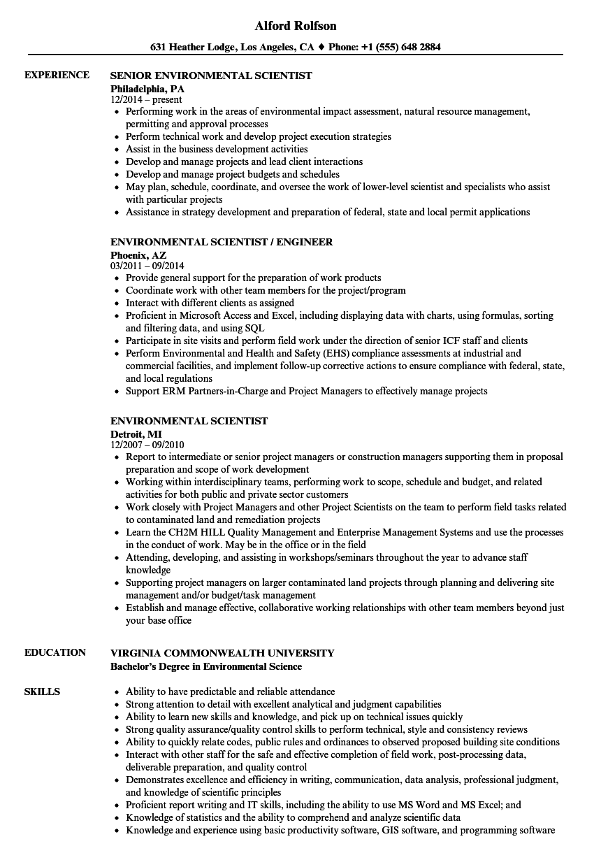 environmental scientist resume template