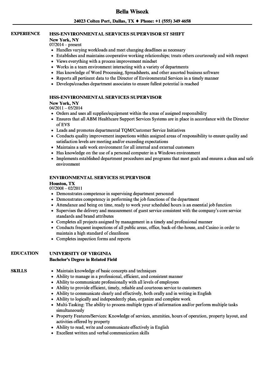 hospital environmental services supervisor resume sample