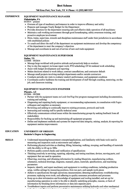 machine repair resume sample