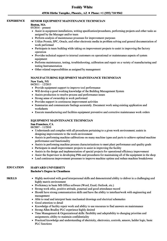 medical equipment technician resume sample