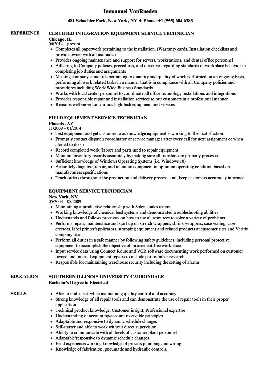 field service technician sample resume