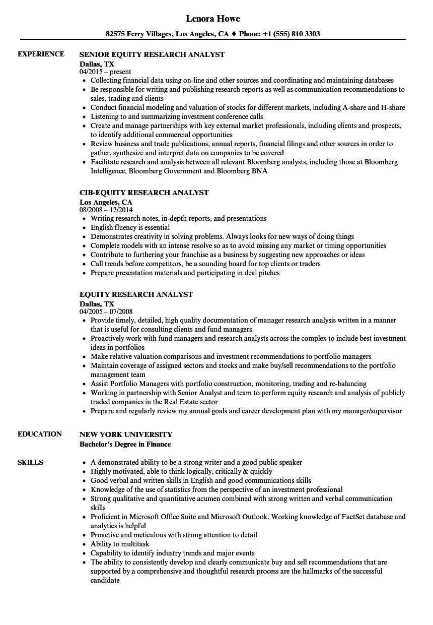 equity research analyst sample resume
